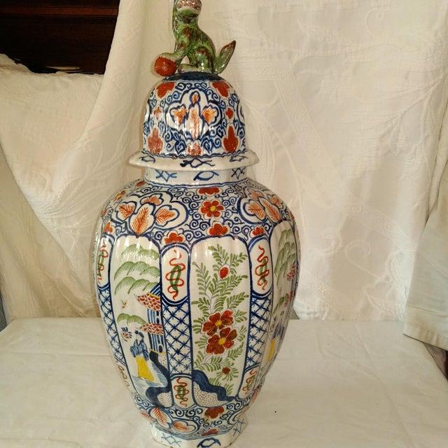 Delft Lidded Ginger Jar For Sale - Image 10 of 12