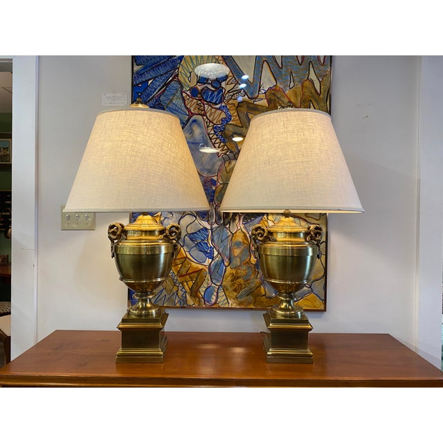 Pair of 1970s Chapman Manufacturing Vintage Brass Lamps For Sale - Image 13 of 13