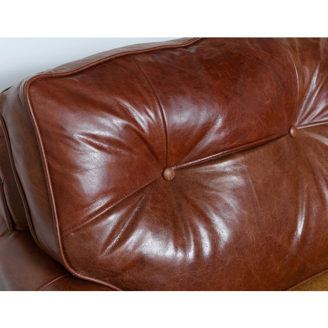 Brown English Rolled Arm Sofa With Genuine Leather For Sale - Image 8 of 10