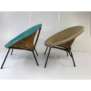 Vintage Mid Century Modern Rattan Hoop Chairs - a Pair Preview