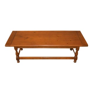 Vintage Ethan Allen Farmhouse Style Pine Large Coffee Table For Sale