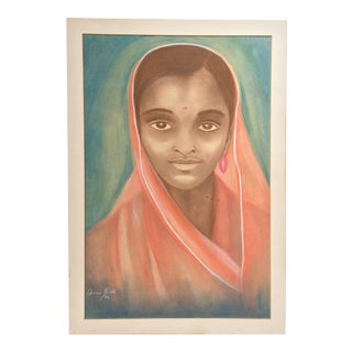 1970 Original Portrait Drawing on Paper - Portrait of an Indian Woman by Anne Bell For Sale