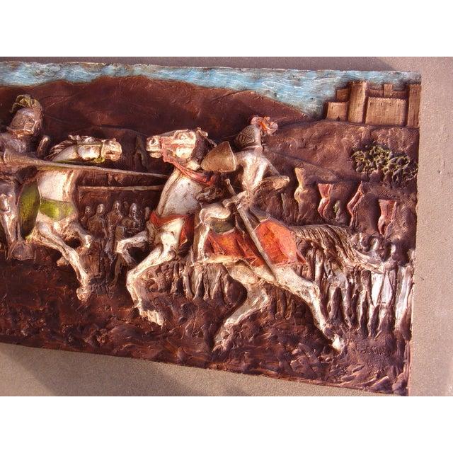Medieval Roman 1960's J. Segura Wall Sculpture Knight Joust Lances Renaissance Middle Ages For Sale - Image 6 of 10