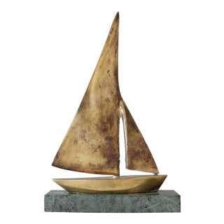 Vintage Brass & Marble Sailboats Figurine Paperweight Mid Century Home Decor