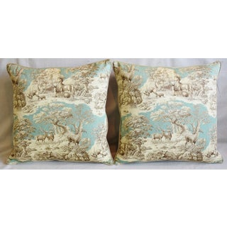 "Woodland Toile Deer & Velvet Feather/Down Pillows 25"" Square - Pair Preview"