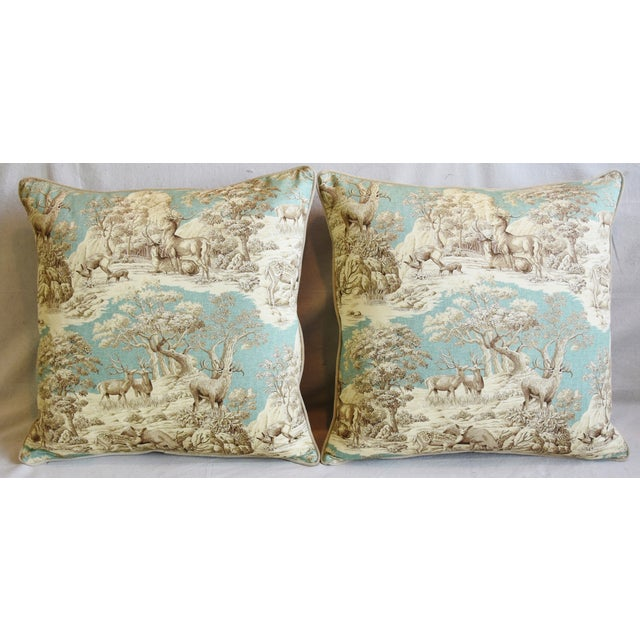 Pair of large custom-tailored pillows in unused cotton printed fabric depicting a woodland wildlife deer toile design....