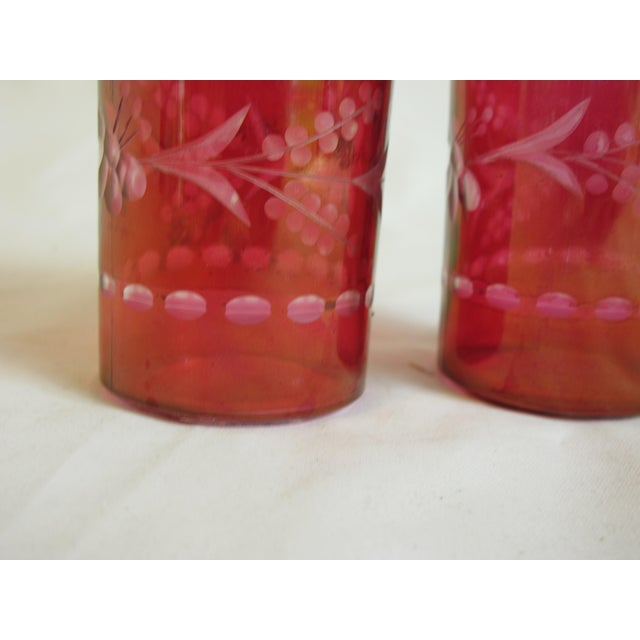 Boho Chic Bohemian Glass Bottles - A Pair For Sale - Image 3 of 3