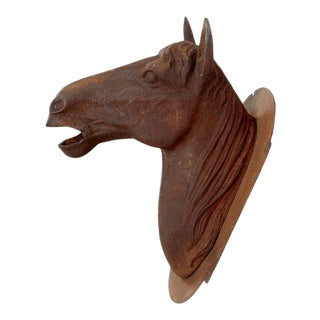 French Cast Iron Horse Head Bust Trade Sign For Sale