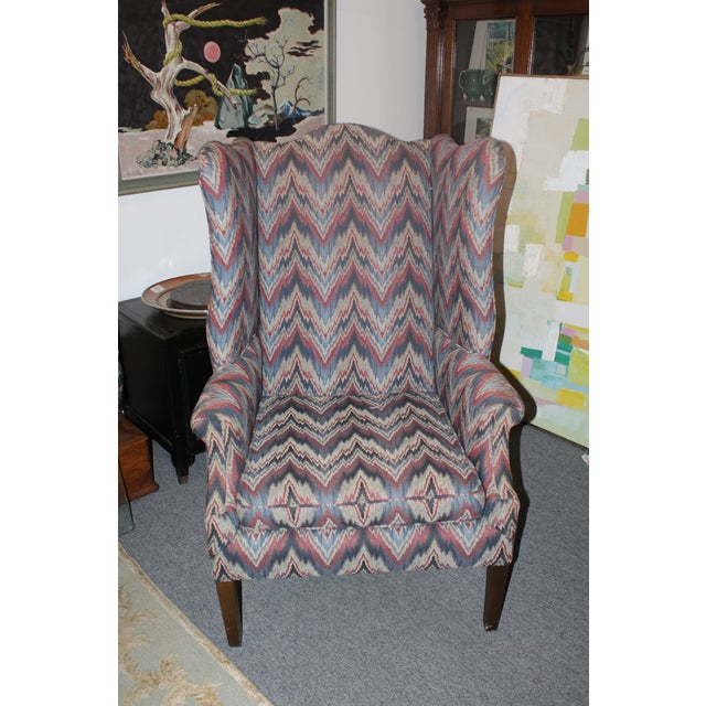 Late 20th Century Late 20th Century Flame Stitch Wing Chair For Sale - Image 5 of 8