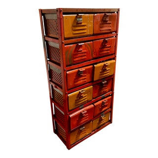 Vintage Industrial Orange 10-Basket Metal Locker Storage For Sale