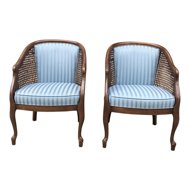 Vintage Cane Barrel Chairs - A Pair For Sale
