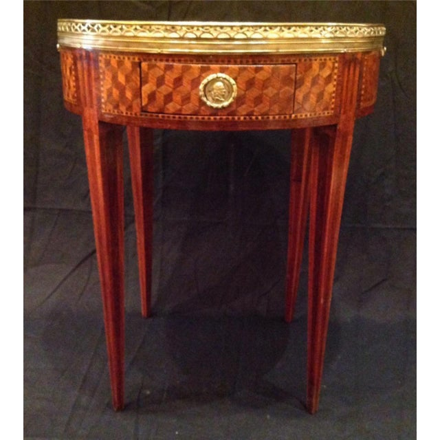 Mid 19th Century 19th Century French Inlaid Bouillotte Table For Sale - Image 5 of 9