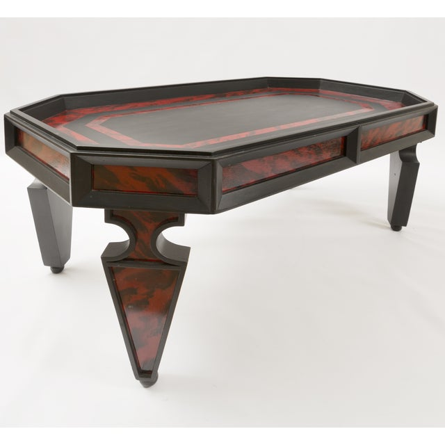 Custom Coffee Table in Faux Painted Tortoise Shell in Red and Black Color For Sale - Image 4 of 8