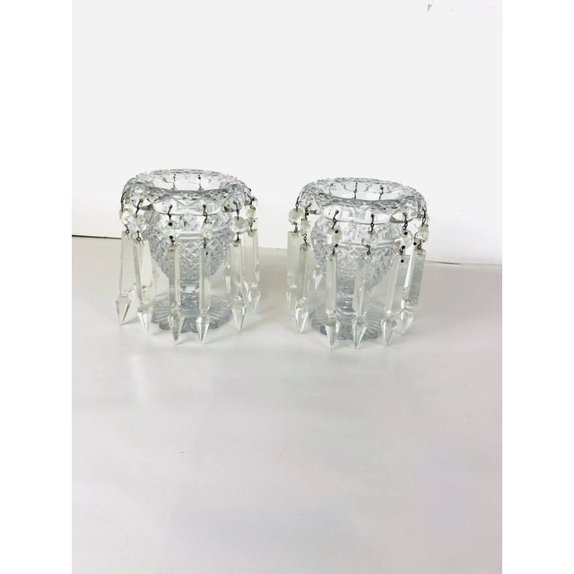 Vintage Crystal Girandoles /Luster Candle Holders - a Pair For Sale - Image 12 of 12