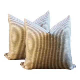 Striped Linen and Silk Pillows - A Pair For Sale