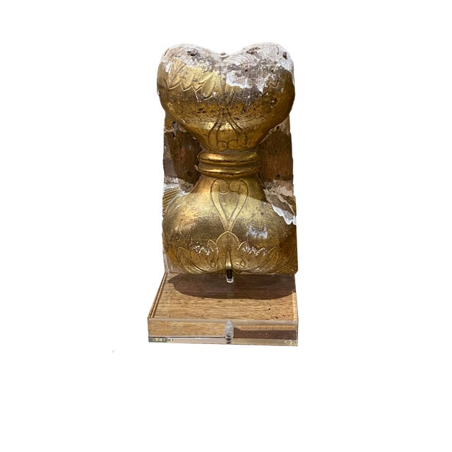 Wood Antique Carved Fragment on Lucite Stand For Sale - Image 7 of 7