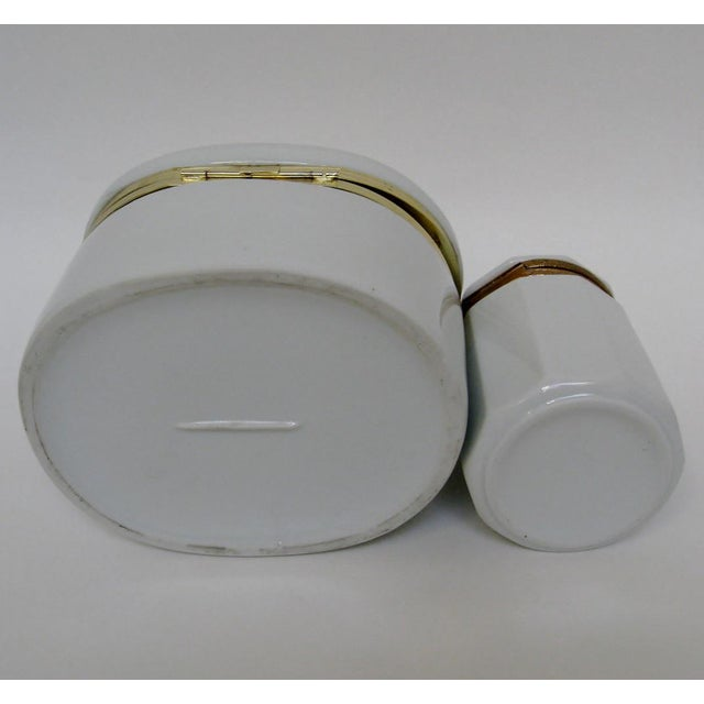 White Porcelain Canisters - A Pair For Sale In Los Angeles - Image 6 of 6