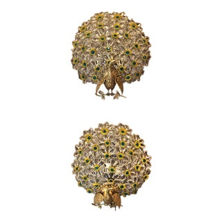 "Pair Antique ""Bohemian"" Multi-Color Peacock Wall Lights, Circa 1910. For Sale"
