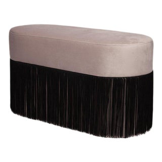 Pouf Pill Large Black & Grey in Velvet Upholstery With Fringes For Sale
