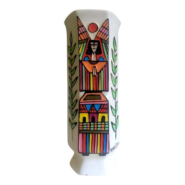 Vintage Mid Century Modern El Salavdor Rare Art Pottery Hand Painted Signed Angel Vase For Sale