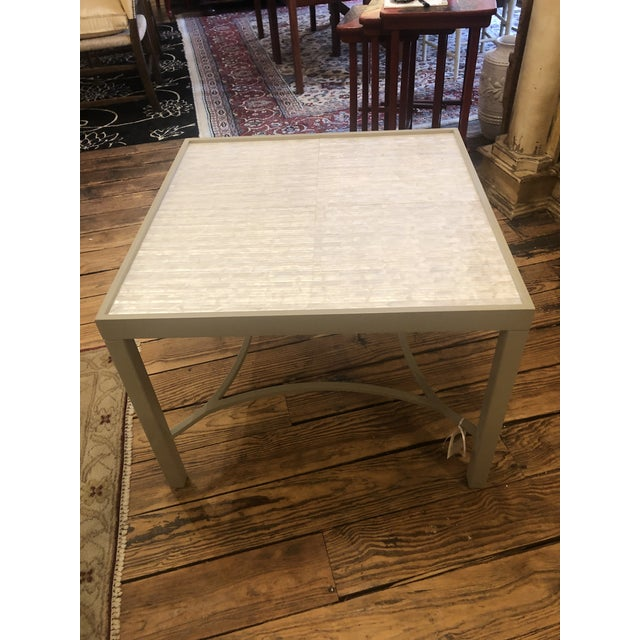 Wood Abalone and Grey Painted Square Cocktail Table For Sale - Image 7 of 10