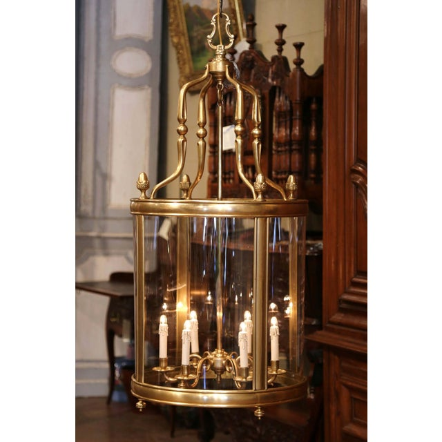 Mid 20th Century Mid-20th Century French Six-Light Brass Lantern With Decorative Finials For Sale - Image 5 of 9