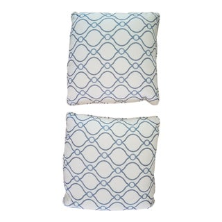Square Blue and White Pillows With Pindler Fabric- a Pair For Sale