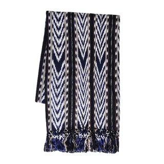 Guatemalan Indigo Ikat Blanket For Sale