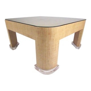 Stylish Vintage Modern Grasscloth Coffee Table in the Style of Karl Springer For Sale