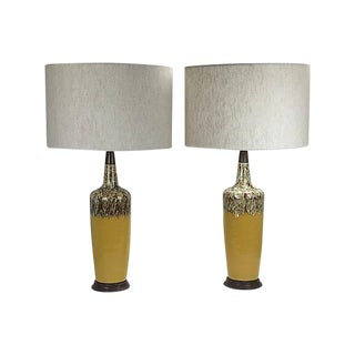 1960s Mid-Century Modern Drip Glaze Ceramic Lamps - a Pair