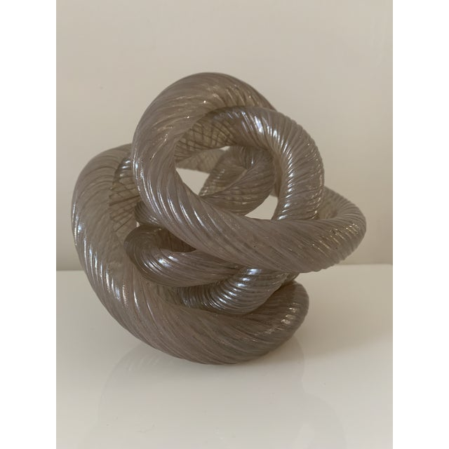 Glass Mid 20th Century Twisted Rope Glass Knot Sculpture For Sale - Image 7 of 10