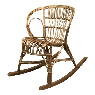 1970s Vintage Franco Albini Style Rattan Rocking Chair For Sale