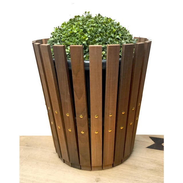 Customizable Plantum Natural American Hardwood Modular Planter Cover with Brass Rivets - Image 2 of 4