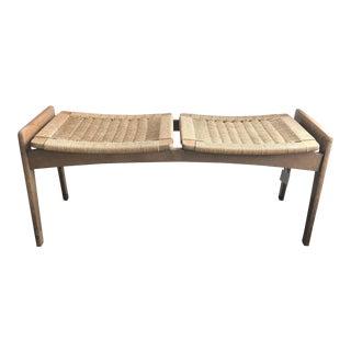 Danish Modern Teak & Woven Cord Bench