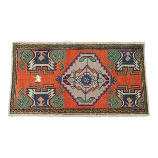 """Hand Knotted Small Oushak Rug Faded Mini Rug Mat - 1'8"""" X 3' For Sale"""