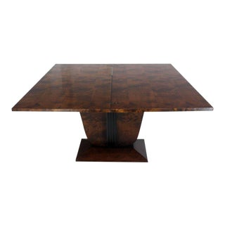 Mid-Century Modern Flip-Top Burl Wood Dining Table For Sale