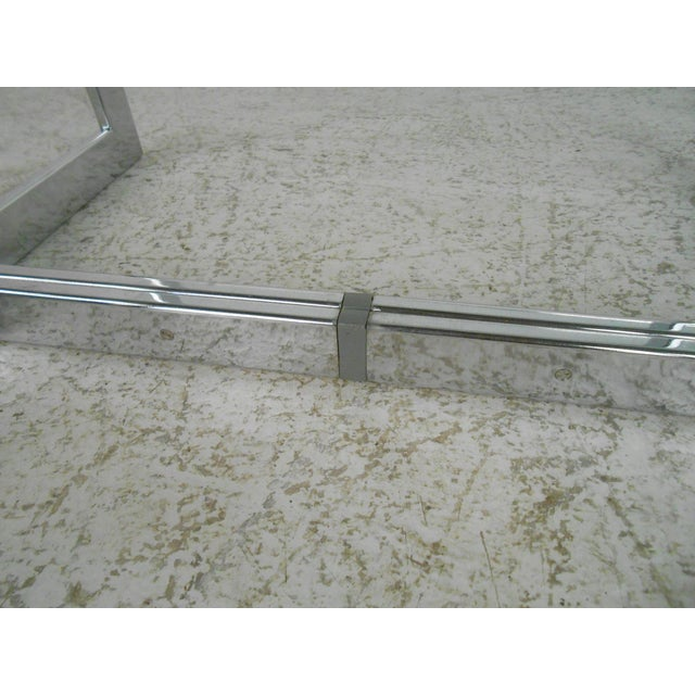 Mid-Century Modern Chrome and Glass Coffee Table For Sale In New York - Image 6 of 11