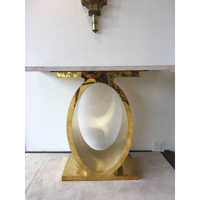 Oval Brass Console Table with Rosso Rustic Marble Top For Sale - Image 4 of 8