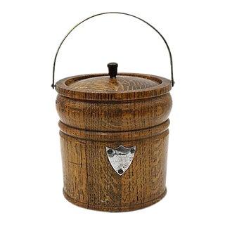 English Oak Ice Bucket w/ Open Monogram