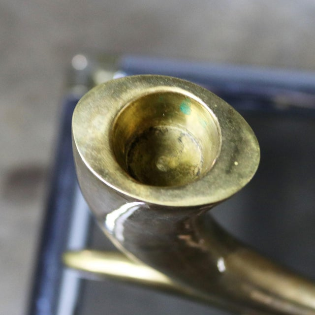 Brass Horn or Tusk Shaped Double Candle Holder on Oval Stone Base For Sale - Image 10 of 12