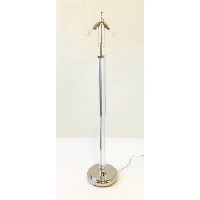 Metal Pair of Polish Nickel and Acrylic Floor Lamps by Charles Hollis Jones For Sale - Image 7 of 9