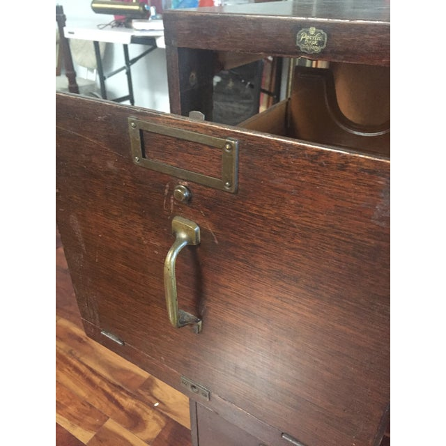 Antique Pacific Desk Co. Wooden File Cabinet - Image 6 of 6