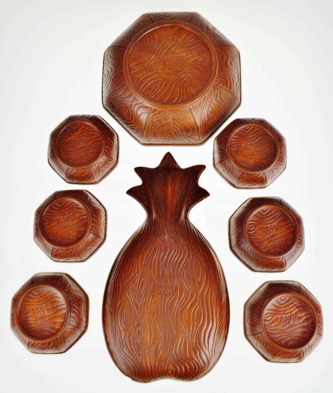 Group of 8 Vintage Sequoia Ceramic Salad Bowl Set /& Pineapple Tray