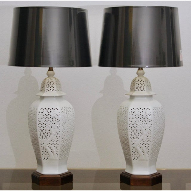 1960s Frederick Copper Blanc De Chine Pierced Chinoiserie Lamps - A Pair For Sale - Image 5 of 11