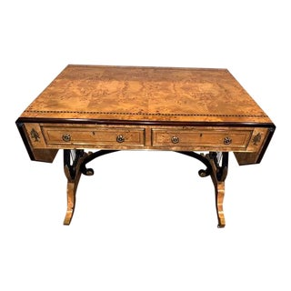 Antique Neoclassic Mahogany & Burl Wood Writing Desk/Table For Sale