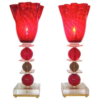1970s Italian Red Murano Glass Lamps - a Pair For Sale