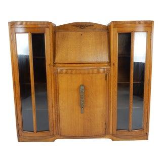 Antique English Art Deco Oak Side by Side Bookcase / Front Drop Desk