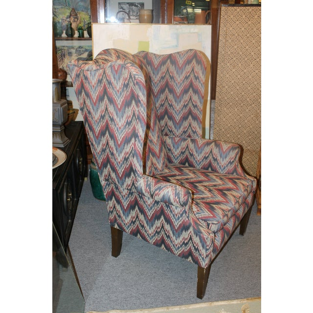 Late 20th Century Flame Stitch Wing Chair For Sale - Image 4 of 8