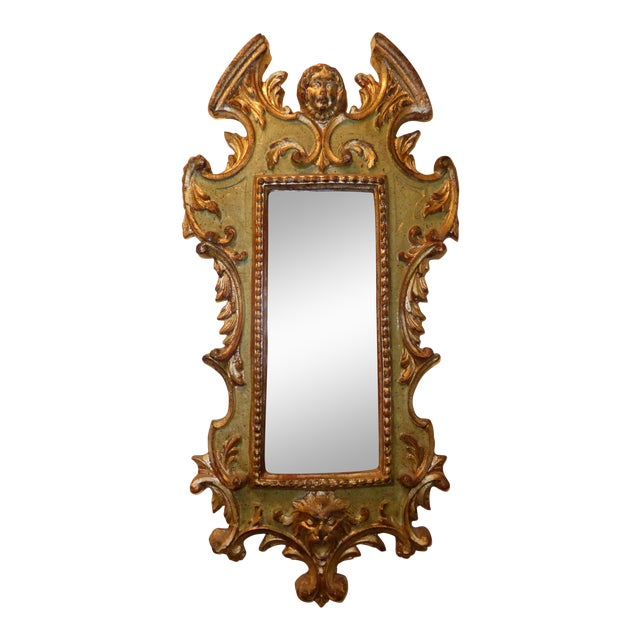 Vintage Rococo Green & Gold Gilt Carved Wood Mirror For Sale