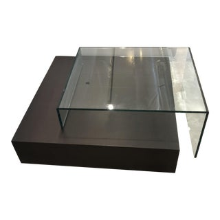 Roche Bobois Glass & Wood Coffee Table For Sale